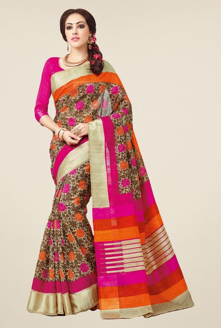 Salwar Studio Orange & Pink Valkalam Bhagalpuri Silk Saree