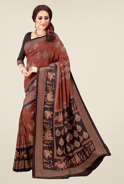 Salwar Studio Brown & Black Valkalam Bhagalpuri Silk Saree