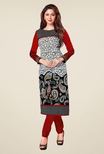 Salwar Studio Black & Red Paisley Print Unstitched Kurti