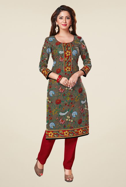 Salwar Studio Grey & Red Floral Print Unstitched Kurti