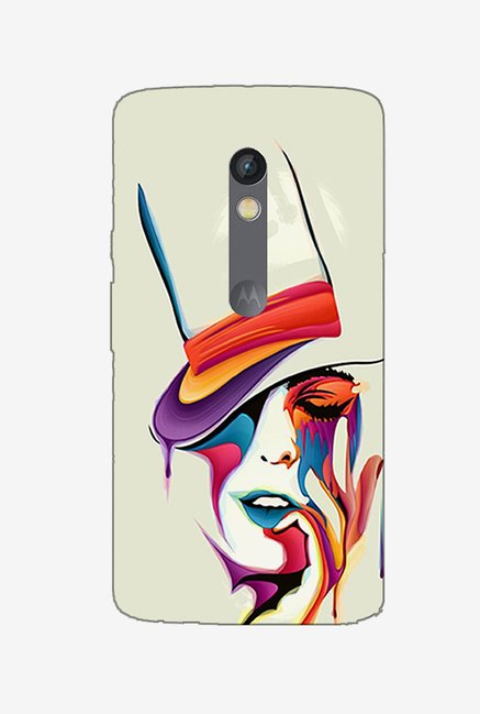 Ziddi HATLADY Hard Back Cover for Moto X Play (Multi)