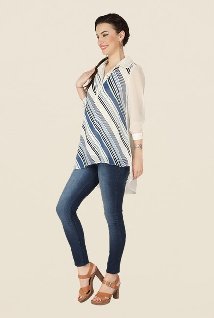 Soie Off White Striped Top