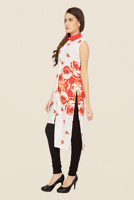 Soie Off White Floral Print Tunic
