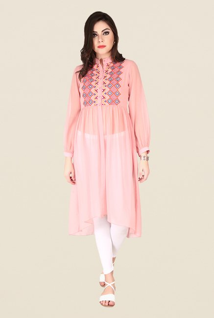 Soie Rose Pink Printed Tunic