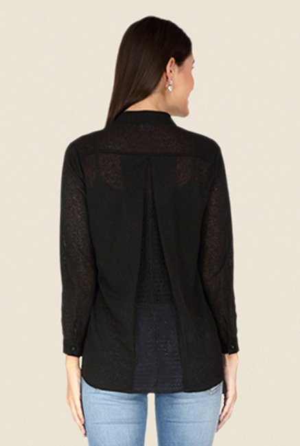 Soie Black Lace Top