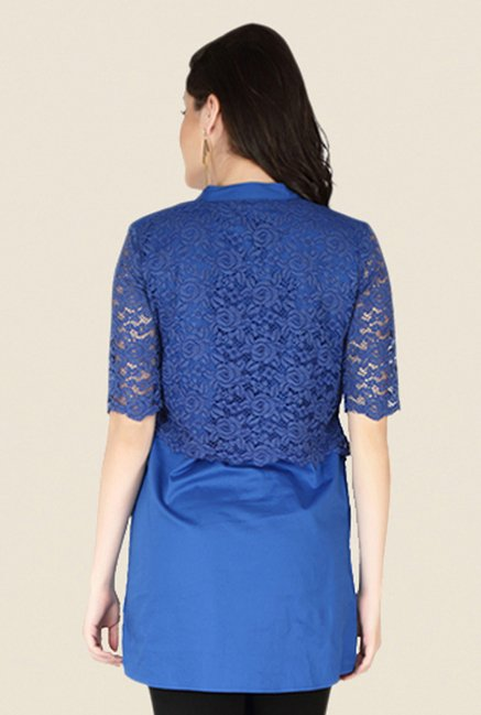 Soie Blue Lace Top