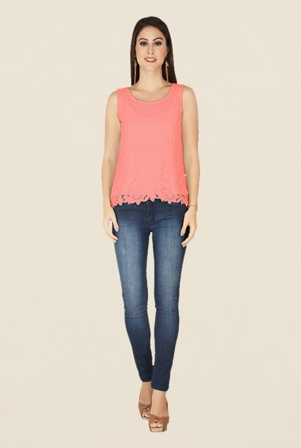 Soie Peach Lace Top