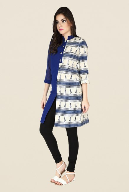 Soie Navy Printed Tunic