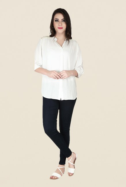Soie Off White Solid Top