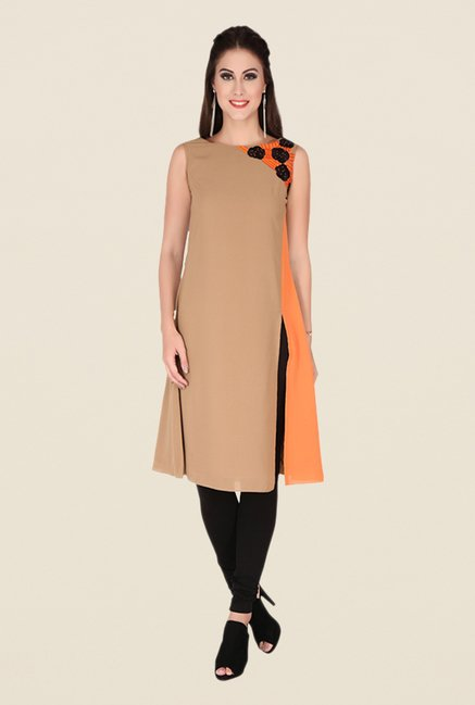 Soie Tan Solid Tunic