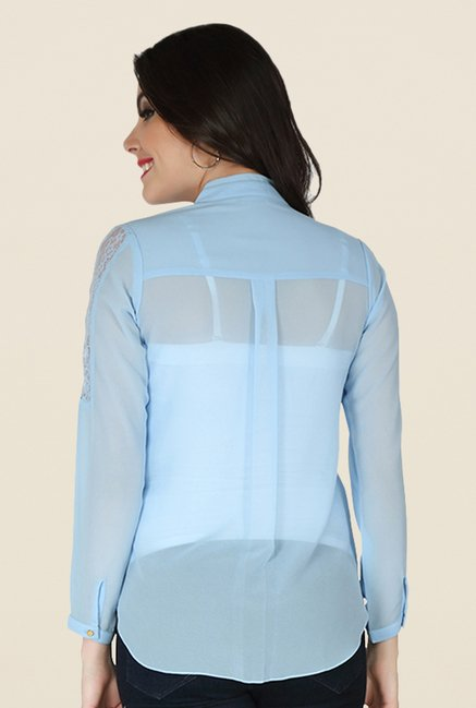 Soie Ice Blue Solid Top