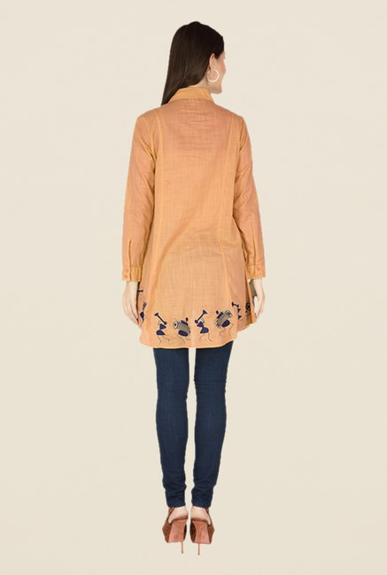 Soie Orange Printed Tunic
