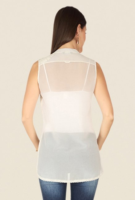Soie Off White Embroidered Top