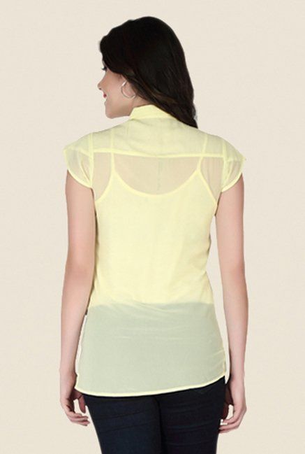 Soie Yellow Self Print Top