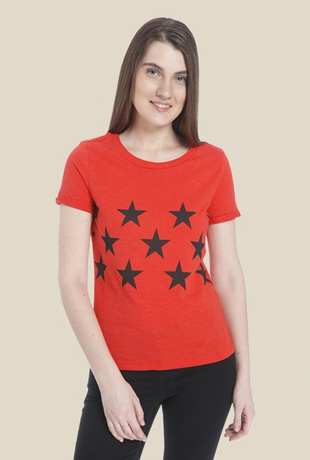 Vero Moda Orange Printed T Shirt
