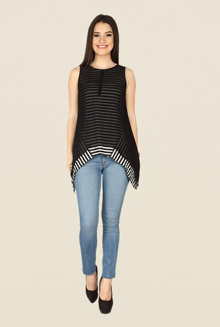 Soie Black Striped Top