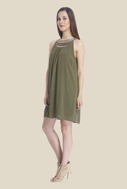 Vero Moda Olive Embellished Dress