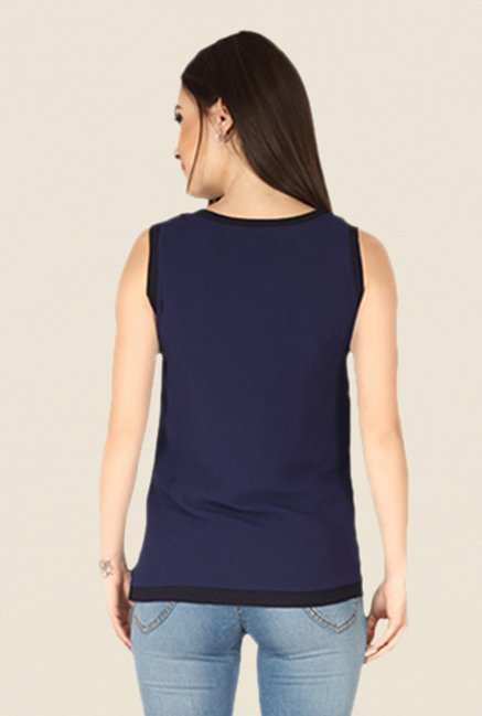 Soie Navy Printed Top