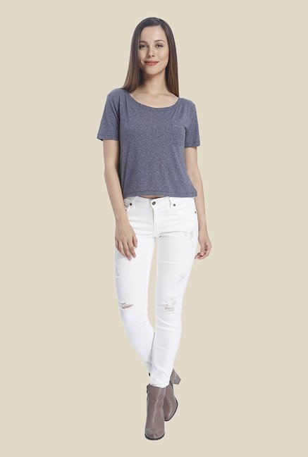 Vero Moda Blue Textured T Shirt