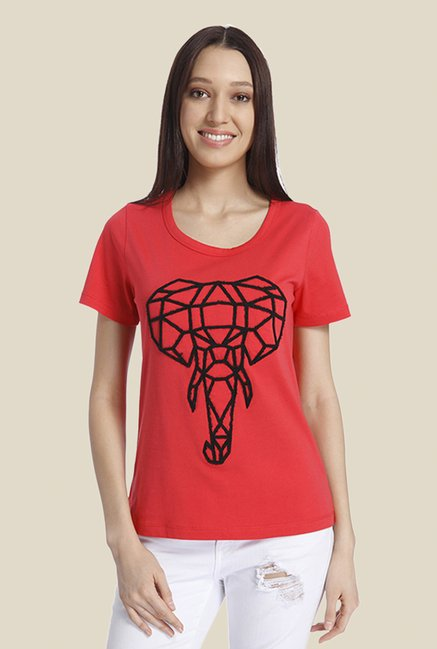 Vero Moda Coral Embroidered T Shirt