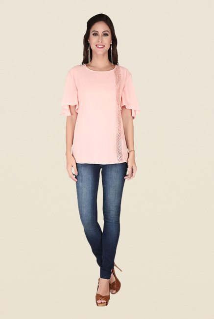Soie Blush Pink Lace Top