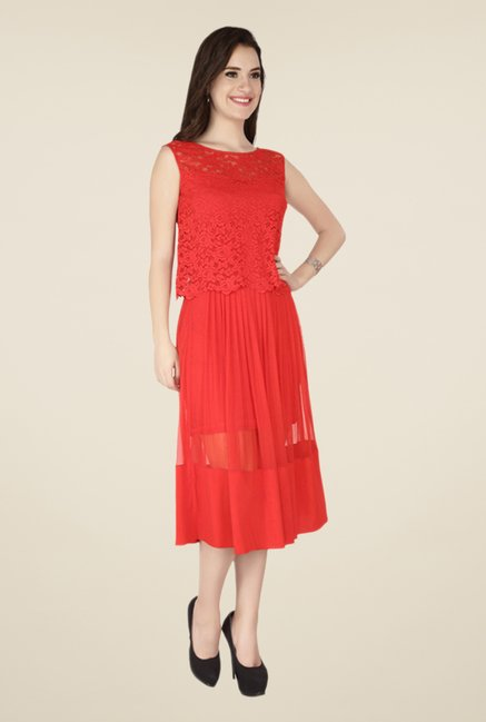 Soie Coral Lace Dress