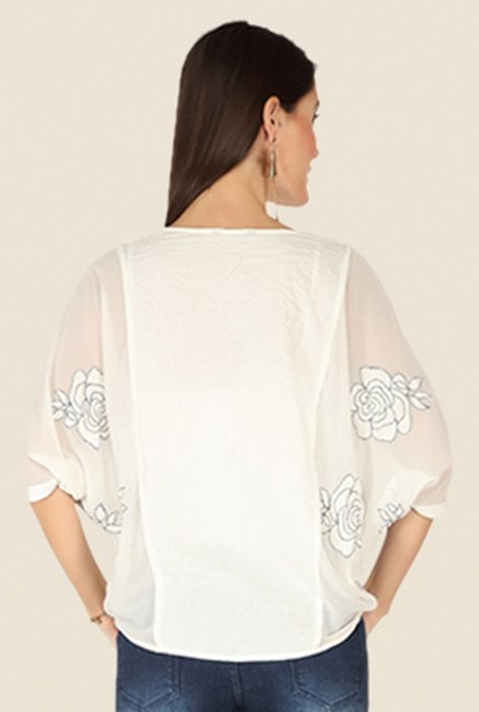 Soie Off White Floral Print Top