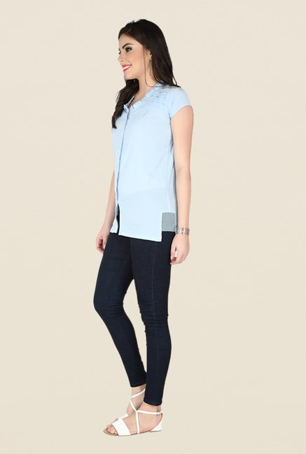 Soie Blue Solid Top