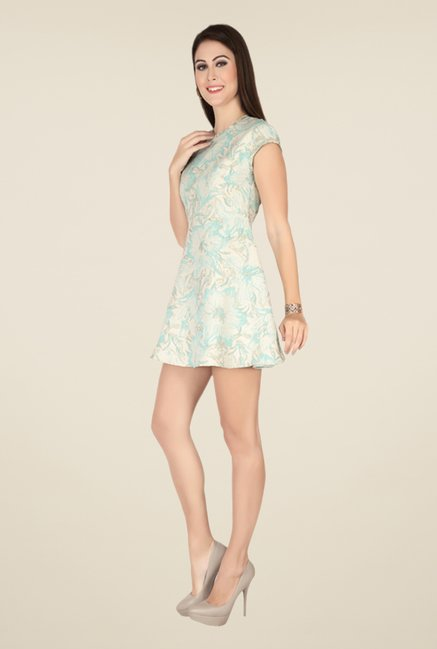 Soie Beige & Pista Printed Dress