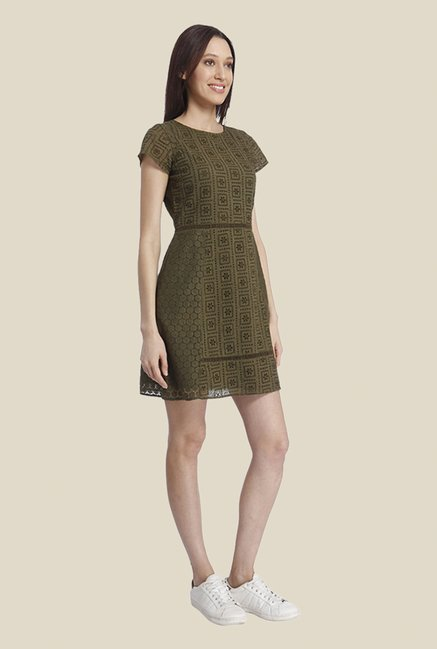 Vero Moda Olive Self Print Dress