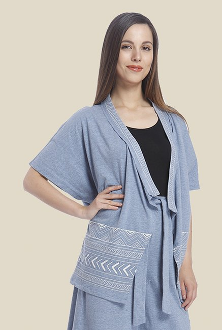 Vero Moda Light Blue Printed Shrug