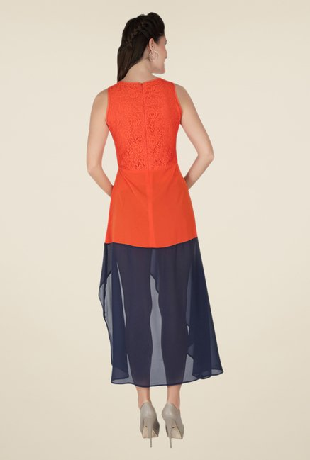 Soie Orange & Navy Self Print Dress