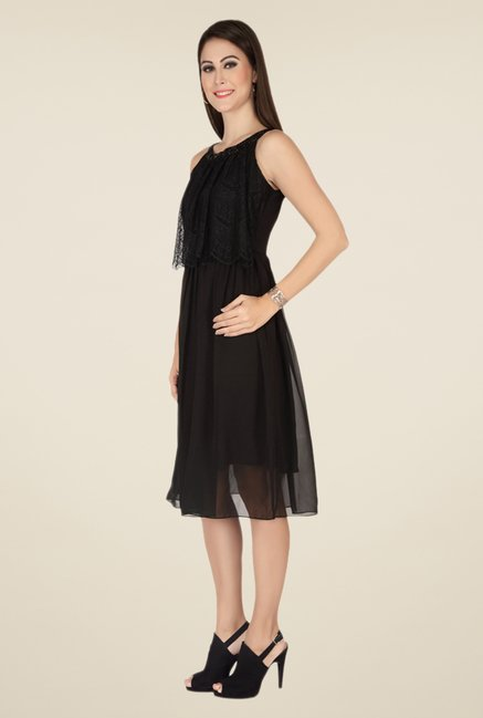 Soie Black Self Print Dress