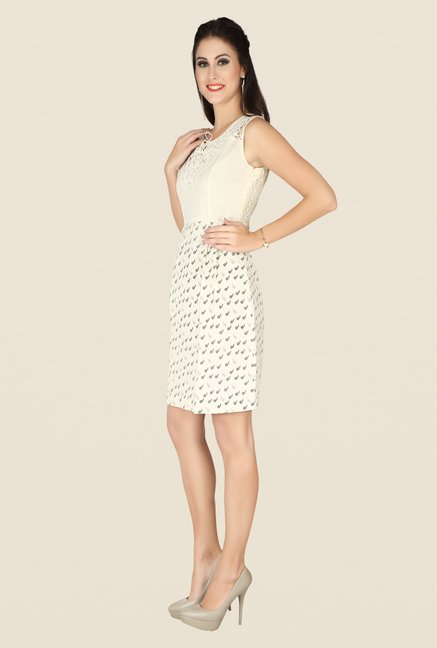 Soie Beige Printed Dress