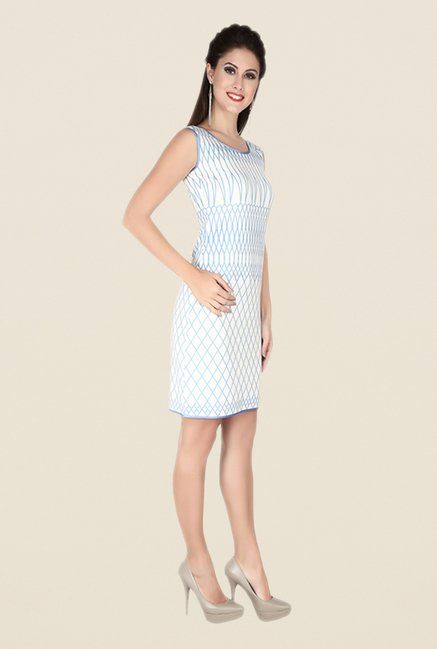 Soie White Printed Dress