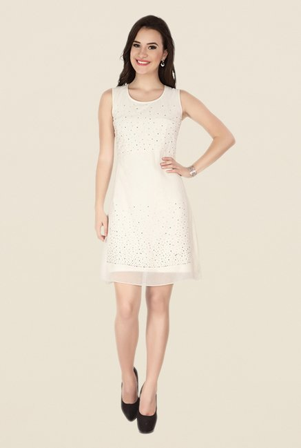 Soie Off White Embellished Dress
