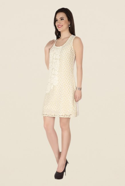 Soie Beige Embroidered Dress