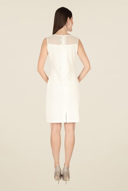 Soie Off White Self Print Dress