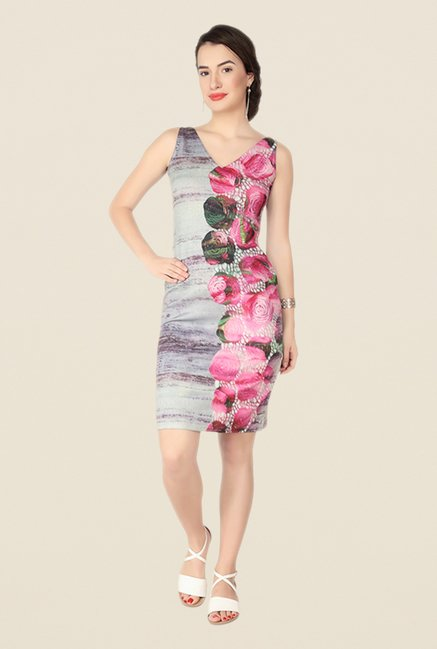 Soie Multicolor Floral Print Dress