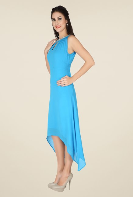 Soie Blue Solid Dress