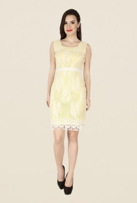 Soie Yellow Embroidered Dress