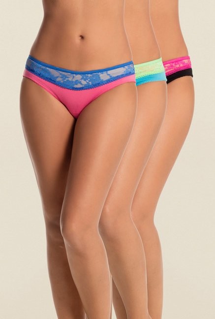 PrettySecrets Pink, Aqua & Black Solid Thong (Pack Of 3)
