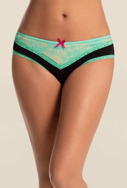 PrettySecrets Black & Green Lacy Thong