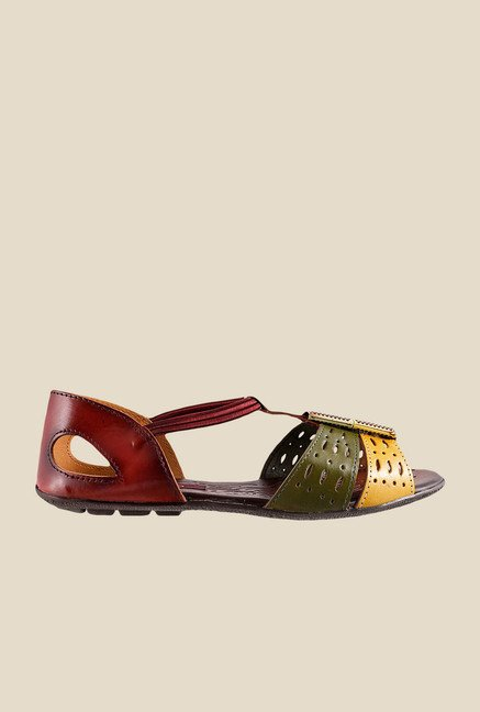 Metro Maroon & Yellow Casual Sandals