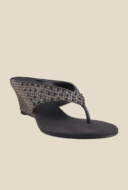 Mochi Black & Beige Wedge Heeled Sandals