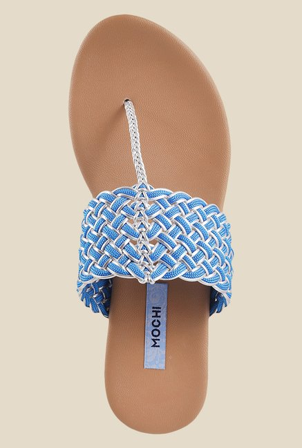 Mochi Blue T-Strap Wedges