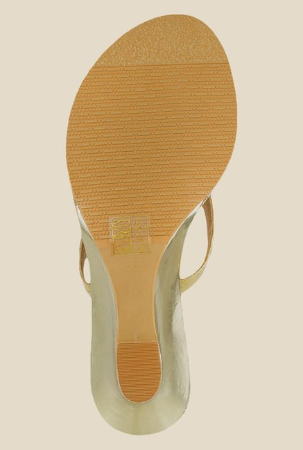 Mochi Golden Wedge Heeled Sandals