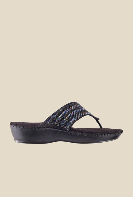 Metro Black & Blue Thong Sandals