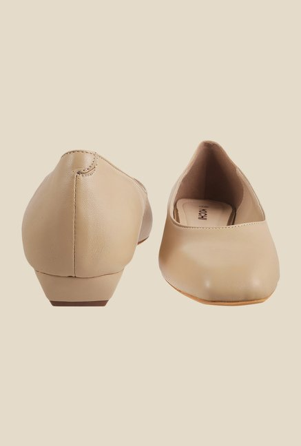 Mochi Beige Wedge Heeled Pumps