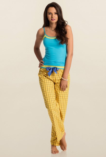PrettySecrets Yellow & Cobalt Checks Pyjama